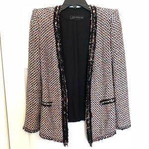 Zara Blazer Jacket (tweed with studded details)